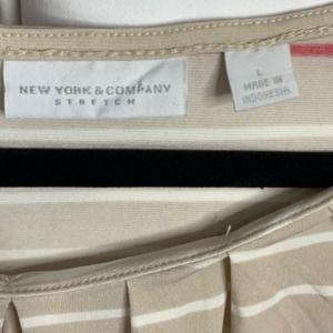 New York & Company Tops - New York & CO tan striped tank L stretch